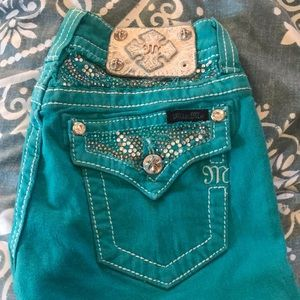 Lightly worn turquoise skinny miss me jeans!